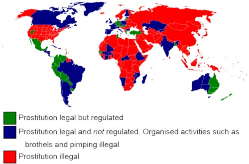 Prostitution legality across the World